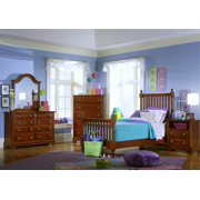 5 Pc Youth Slat Poster Bedroom Set in Cherry Finish (Twin)