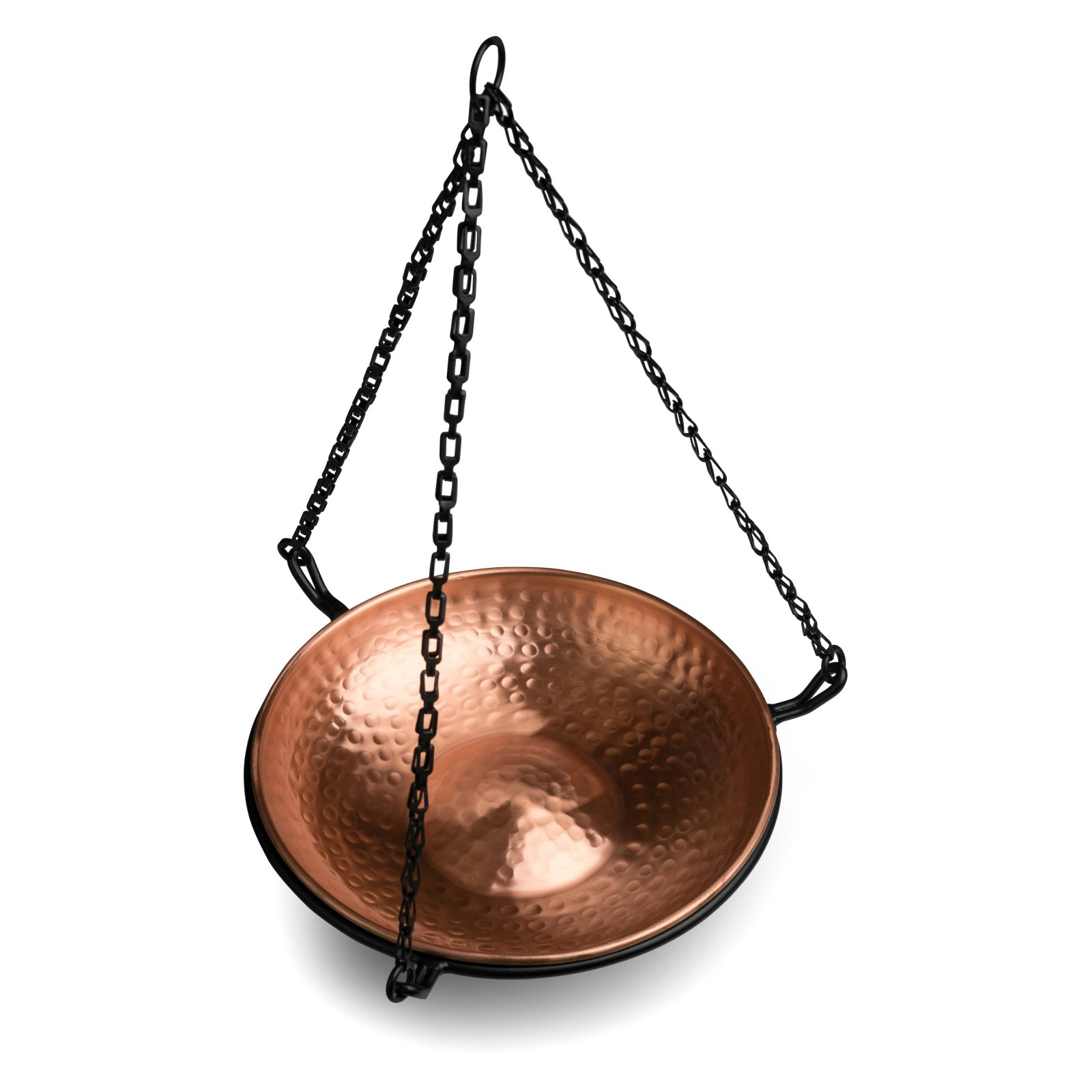 Monarch Abode Pure Copper Hand Hammered Hanging Bird Bath