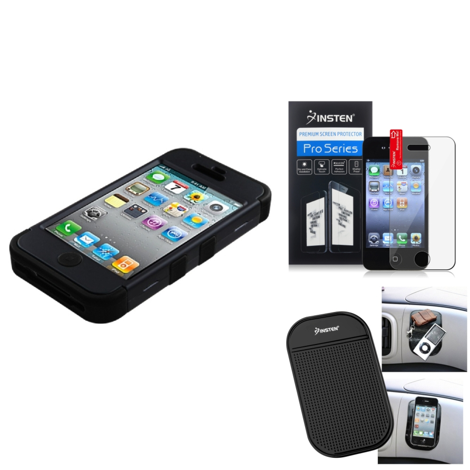 Insten Film Mat For Apple iPhone 4 4S Hard Hybrid Case Rubberized Black/Black Silicone TUFF