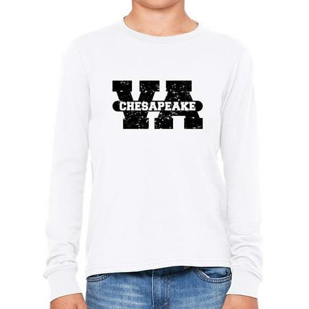 Chesapeake, Virginia VA Classic City State Sign Boy's Long Sleeve T-Shirt](Party City Chesapeake Va)