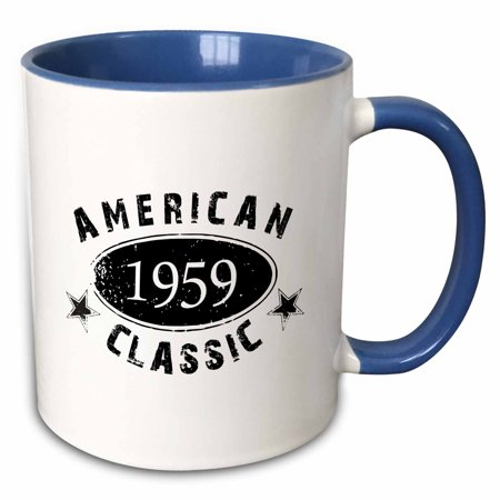 3dRose 1959 American Classic - Personalized Birth Year Birthday gift - black grunge vintage look - funny - Two Tone Blue Mug,