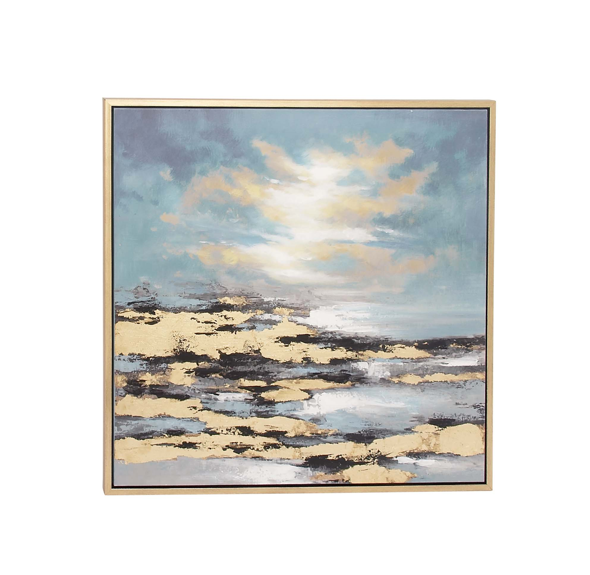 Decmode Contemporary 39 Inch Square Wooden Framed Sunset Canvas Art With Polystone... by DecMode