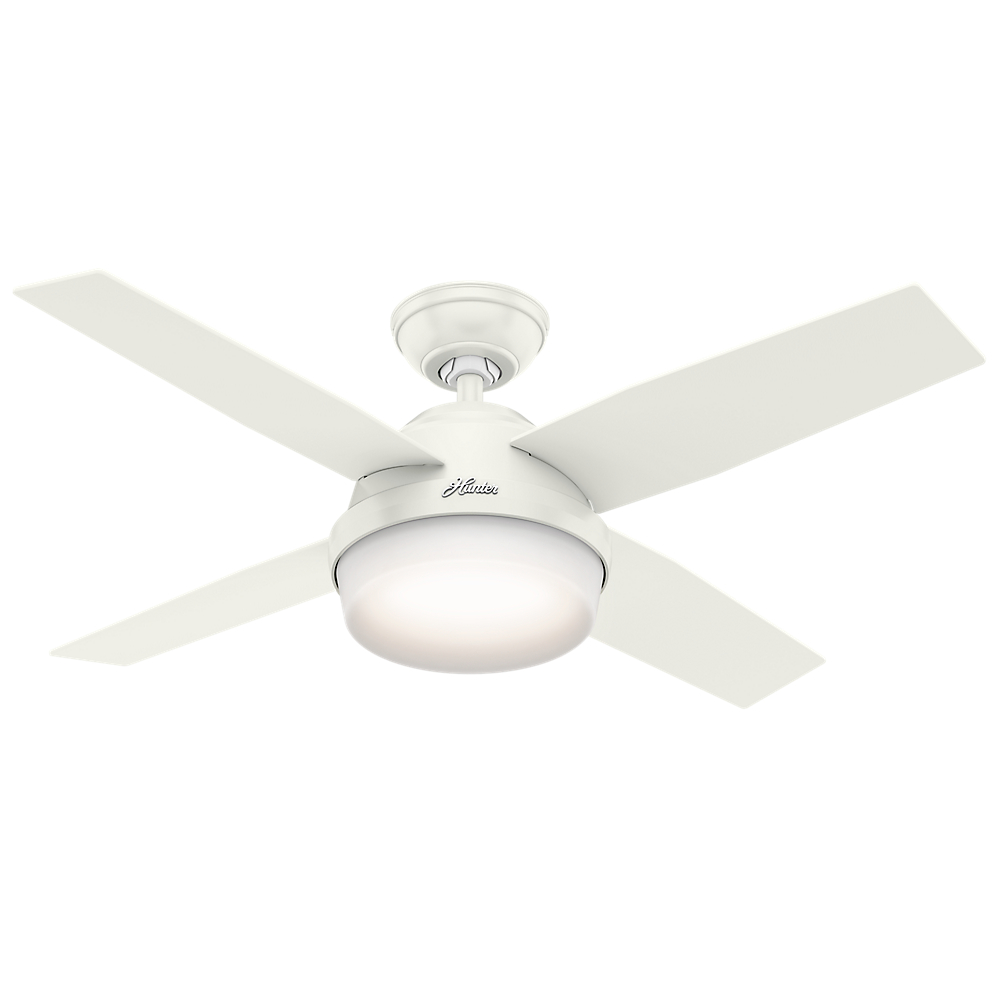 "Hunter 44"" Dempsey with Light Fresh White Ceiling Fan with Light with Handheld Remote by Hunter Fan Co"