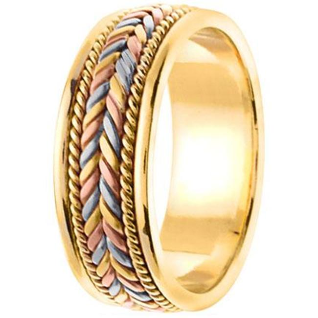 L. A.  Wedding 14KLAW528-S6 7mm 14K Tri Color Handmade Wedding Band - Size 6