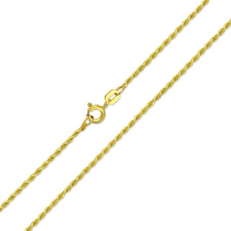 2MM 030 Gauge Strong 14K Gold Plated 925 Sterling Silver Rope Link Chain Necklace For Women Made In Italy 16 20 24 Inch
