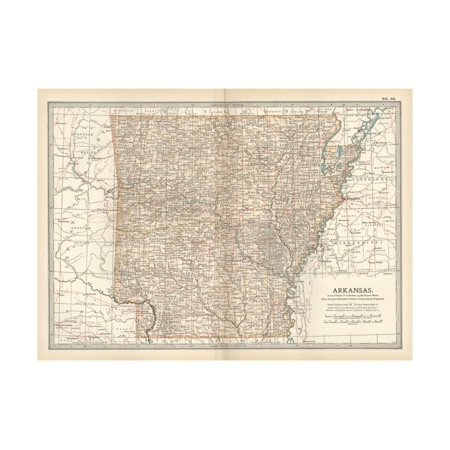 Plate 86. Map of Arkansas. United States Print Wall Art By Encyclopaedia (Arkansas Antique Map)