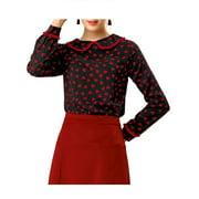 Allegra K Women's Cute Ruffle Peter Pan Collar Long Sleeve Sweet Casual Blouse Tops (Size XL / 18) Black