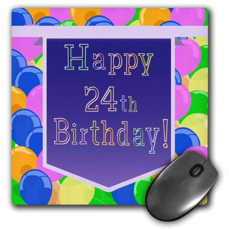 3dRose Balloons With Purple Banner Happy 24th Birthday Mouse Pad 8 By Inches