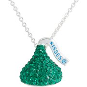 Hershey's Kiss Silver Tone Green Crystal Pendant, 18""