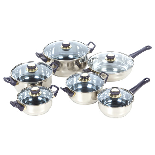 Gourmet Chef Gourmet Chef 12 Stainless Steel Piece Cookware Set by American Trading House, Inc