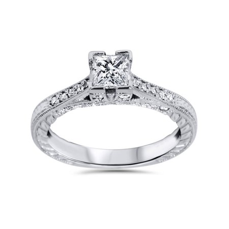 1ct Princess Cut Vintage Diamond Engagement Ring Antique Accent 14K White -