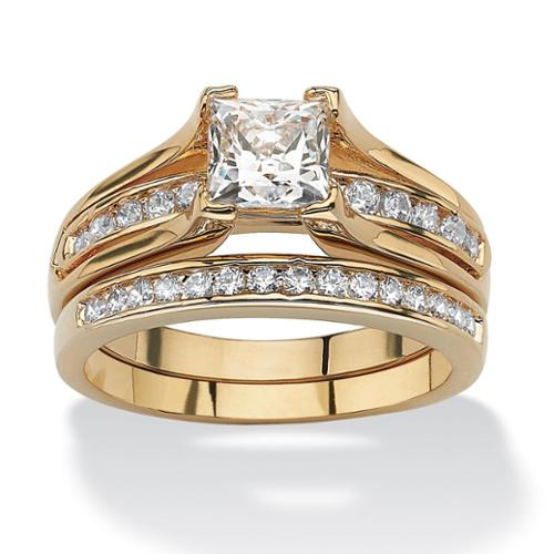 PalmBeach 1.88 TCW Princess-Cut Cubic Zirconia 14k Gold-Plated Bridal Engagement Ring Wedding Band Set Classic CZ Size 6