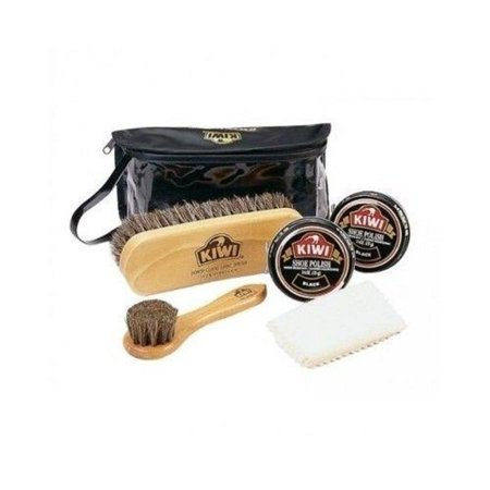 Deluxe Shine Kit 2 Black Brush Buff Polish Wax Shine Shoe Boot Leather, Kiwi leather Deluxe Shine kit for your leather shoes By Kiwi