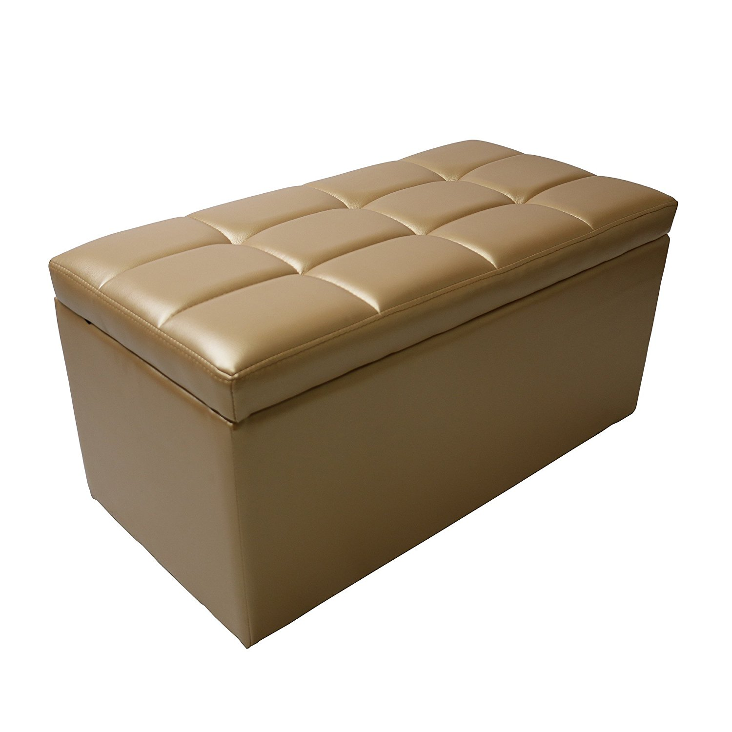 31'' Rectangle Unfold Leather hinged Storage Ottoman Bench Footstool Cocktail Seat Black by