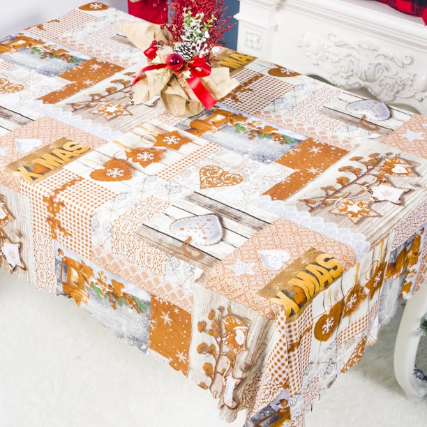 Christmas Tablecloth Christmas Scroll Printed Fabric Polyester Holiday Table Cover For Christmas Kitchen Dining Room Party Decor Rectangle 60 X 74 Walmart Com Walmart Com