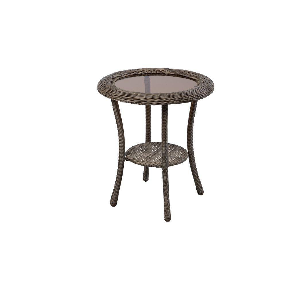 Hampton Bay 65 20311 Spring Haven Grey Round Wicker Outdoor Patio Side Table