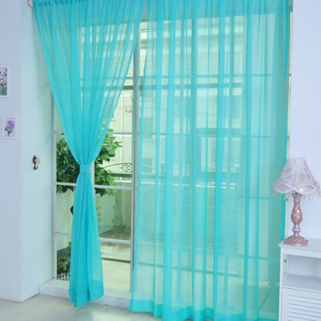Glass Door Floral Case (Coloful Floral Tulle Voile Door Window Curtain Drape Panel Sheer Scarf Valances Glass for Living Room Bedroom)