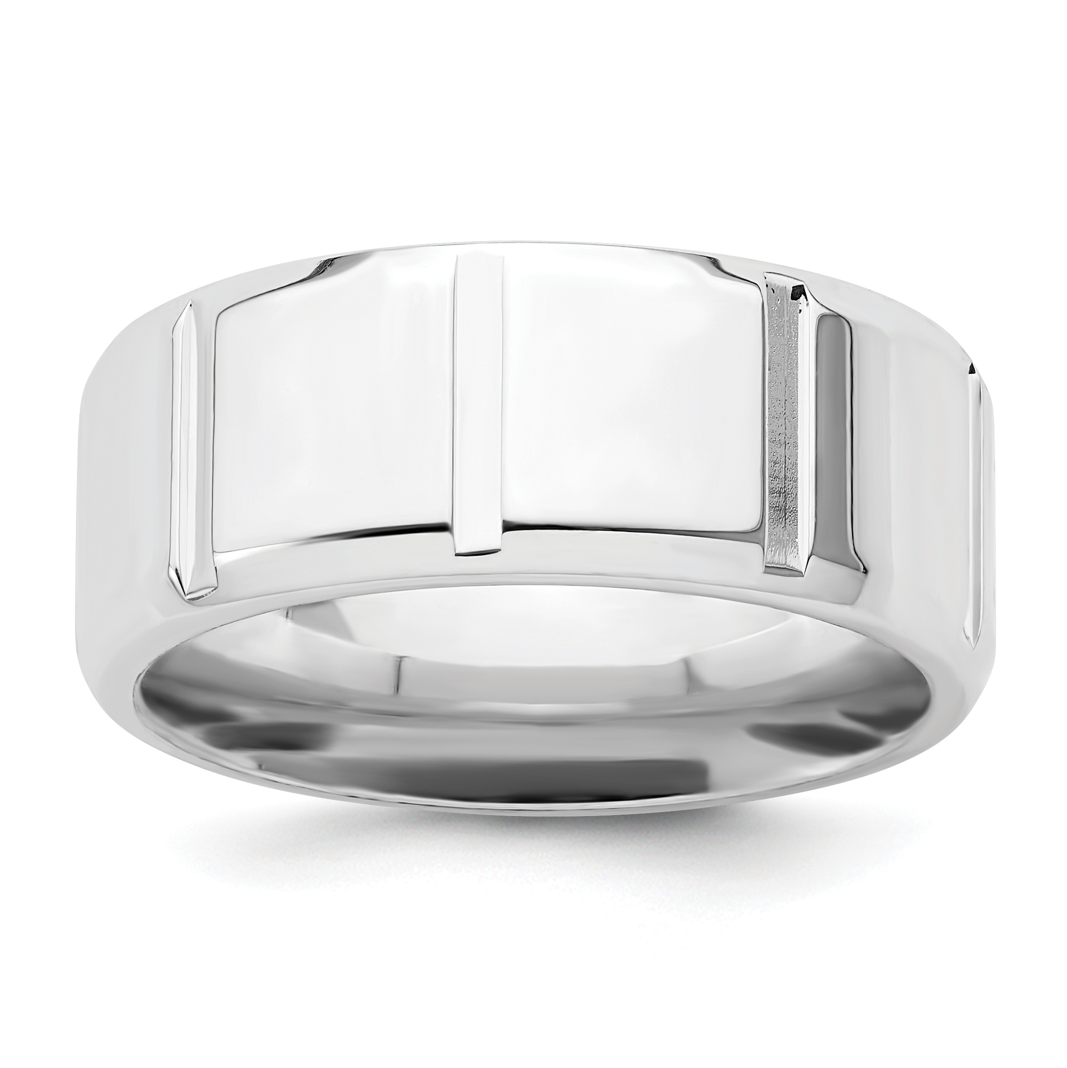 925 Sterling Silver 8mm Wedding Ring Band Size 12 Fancy Classic Beveled Edge Fine Jewelry For Women Gift Set