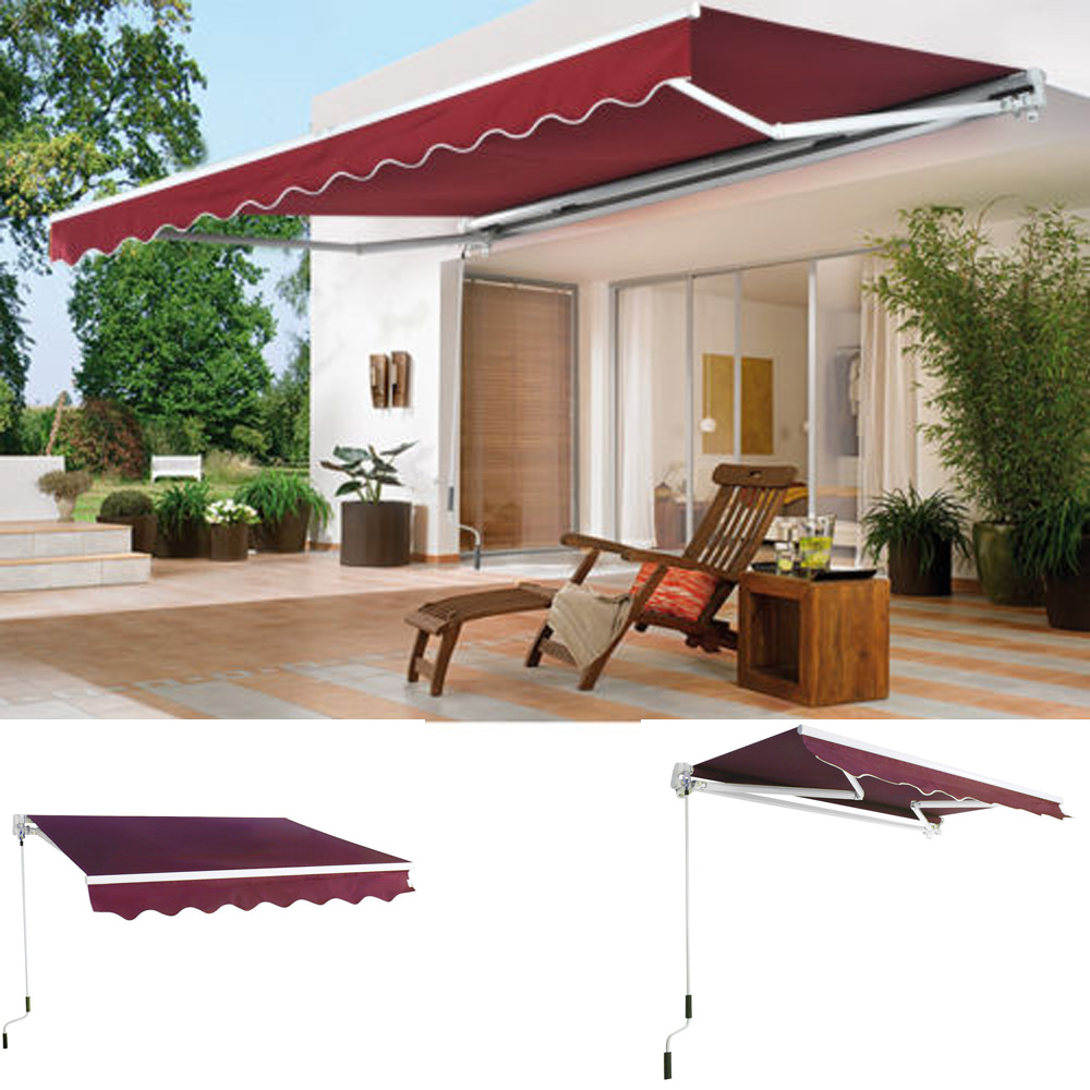 8' x 7' Manual Retractable Sun Shade Patio Deck Awning Sunshade Shelter Canopy by Zimtown