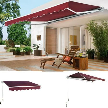 8' x 7' Manual Retractable Sun Shade Patio Deck Awning Sunshade Shelter  Canopy - 8' X 7' Manual Retractable Sun Shade Patio Deck Awning Sunshade