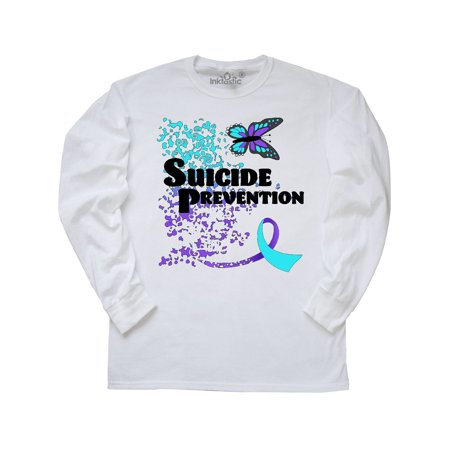 Suicide Prevention- butterfly and ribbon Long Sleeve T-Shirt