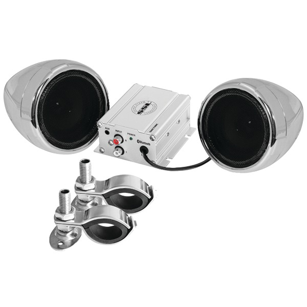 "SOUNDSTORM SMC72BC Motorcycle 600-Watt Amplified Sound System with 3"" Chrome Full-Range Speakers & Bluetooth(R)"