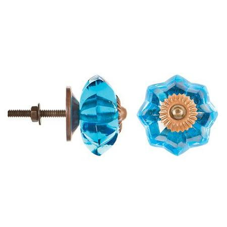 Fancy Double Leaf Knob - Decorative Knob - Glass - Fancy - Blue Flower