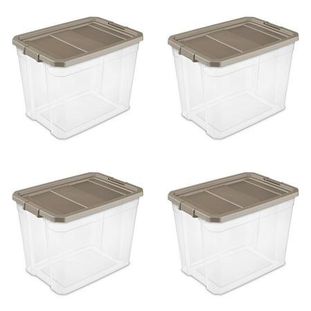Sterilite, 108 Qt./102 L Stacker Box, Taupe Splash, Case of 4