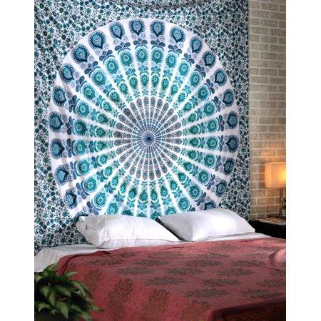 Bohemian Throw Blankets Stunning Indian Peacock Mandala Tapestry Wall Hanging Dorm Room Boho Hippie