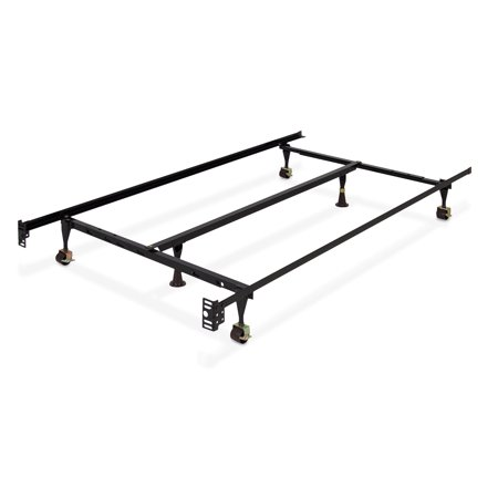 Best Choice Products Folding Adjustable Portable Metal Bed Frame for Twin, Full, Queen Sized Mattresses and Headboards with Center Support, Locking Wheel Rollers, Black ()