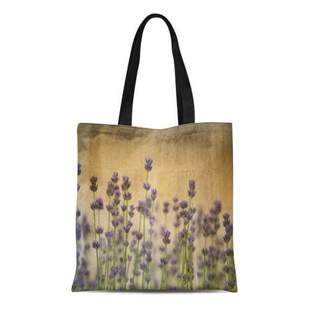 ASHLEIGH Canvas Tote Bag Floral Pretty Lavender Flowers Romantic Garden Fields Photography Reusable Handbag Shoulder Grocery Shopping Bags