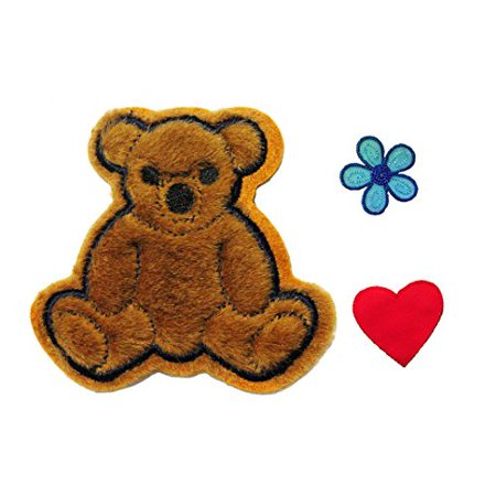 Altotux Brown Furry Teddy Bear Red Heart Blue Flower Kaylee Firefly Costume Embroidered Sew on Patches Applique DIY Cosplay Craft - Fireflies Costume