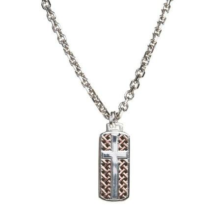 Montana Silversmiths Mens Legacy Weave Cross Pendant Necklace