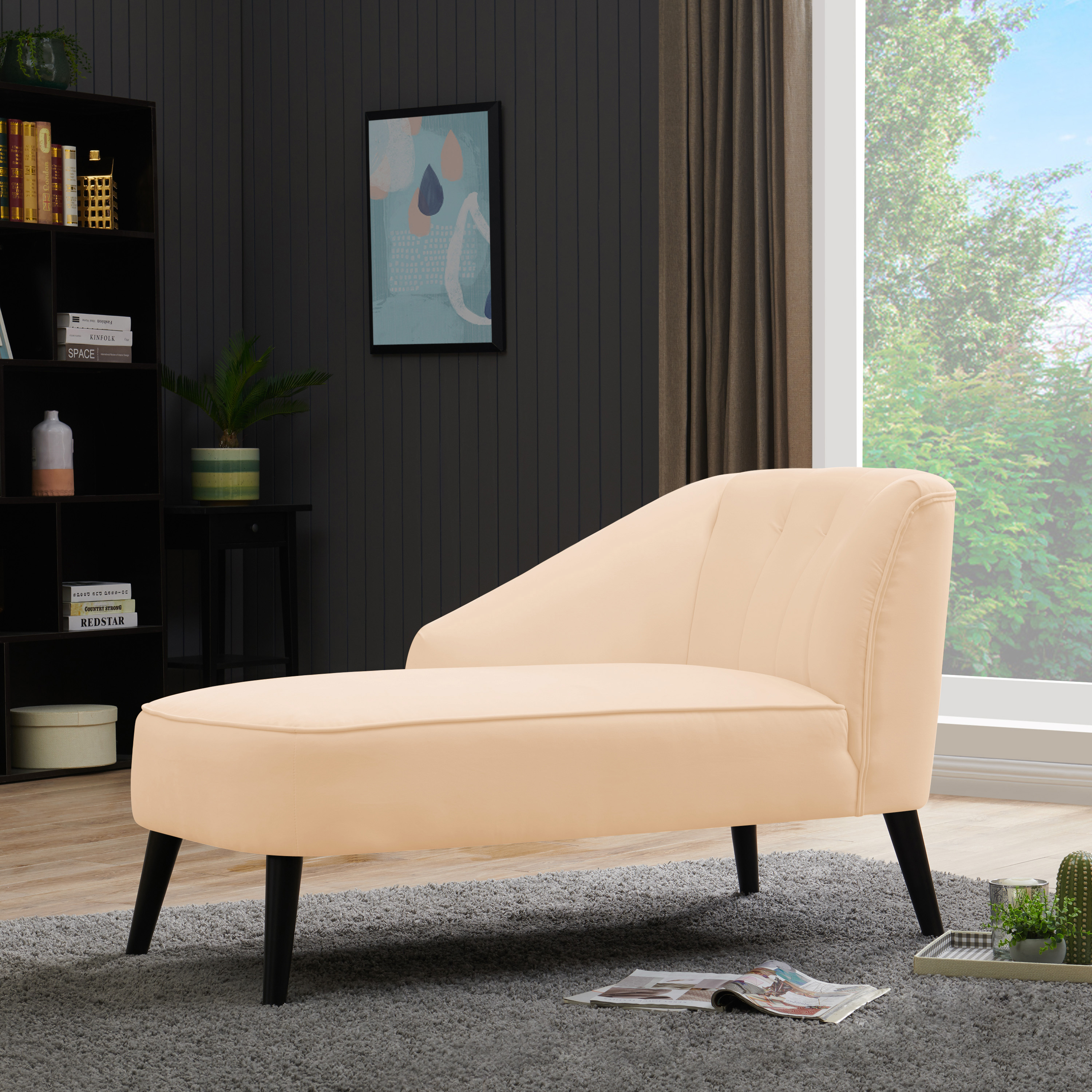 Chaise Lounges Gray And Dark Brown Rafaela Modern Glam Tufted Velvet Chaise Lounge With Scrolled Backrest Home Kitchen