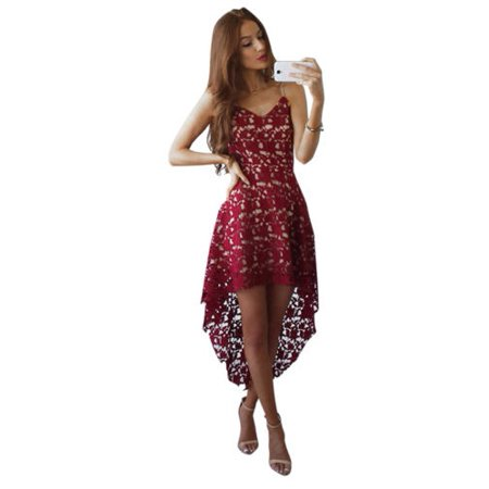 Womens Lace Summer Sleeveless High Low Mini Dress Evening Cocktail Party Dresses Bridesmaid