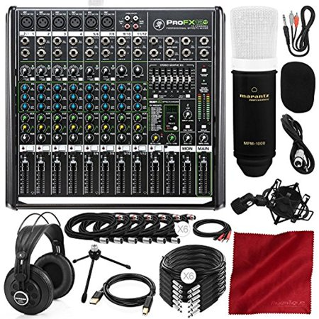 Mackie PROFX12V2 12-Channel Compact Mixer w/USB & Built-in FX + Samson Studio-Reference Headphones, Condenser Microphone, and Platinum Studio