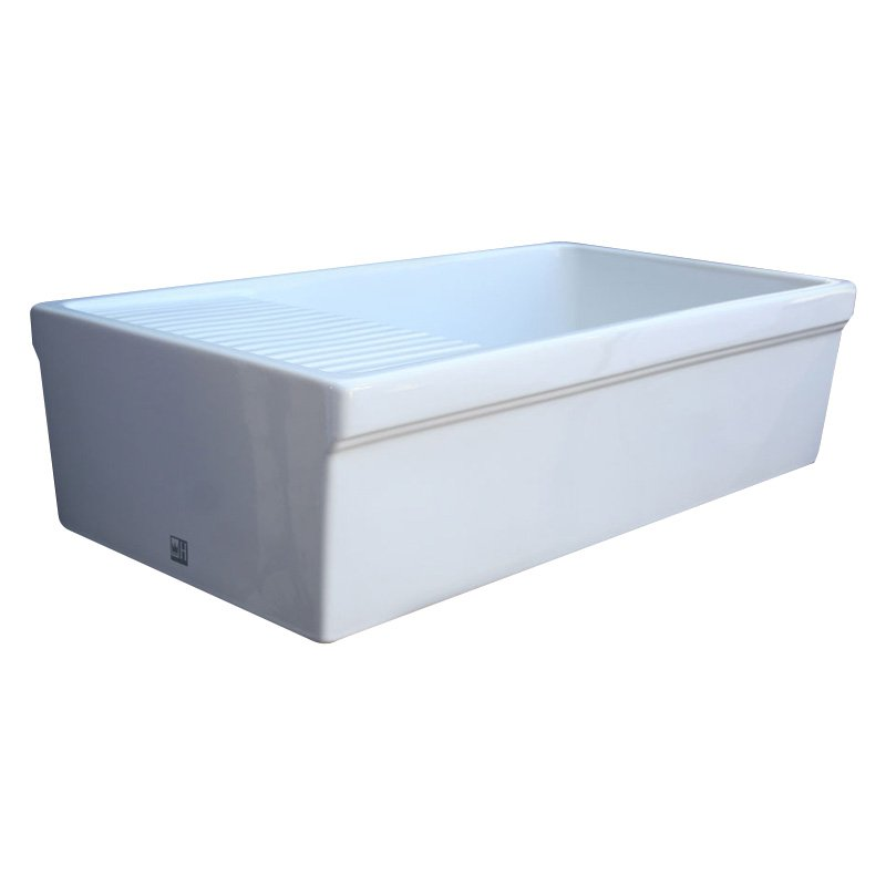 36 in. Quatro Alcove Reversible Fireclay Farmhouse Kitchen Sink (White)