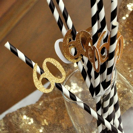 Black And Gold Straws For 60th Party 10ct 60th Birthday Party