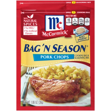 McCormick Bag 'n Season Pork Chops Cooking & Seasoning Mix, 1.06 oz