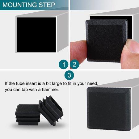 16pcs 25 x 25mm Plastic Square Tube Inserts Cover Black Shelves Leg Protector - image 4 of 7