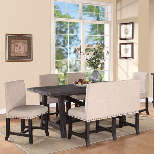 Modus Yosemite 6 Piece Rectangular Dining Table Set with Upholstered Chairs and Settee