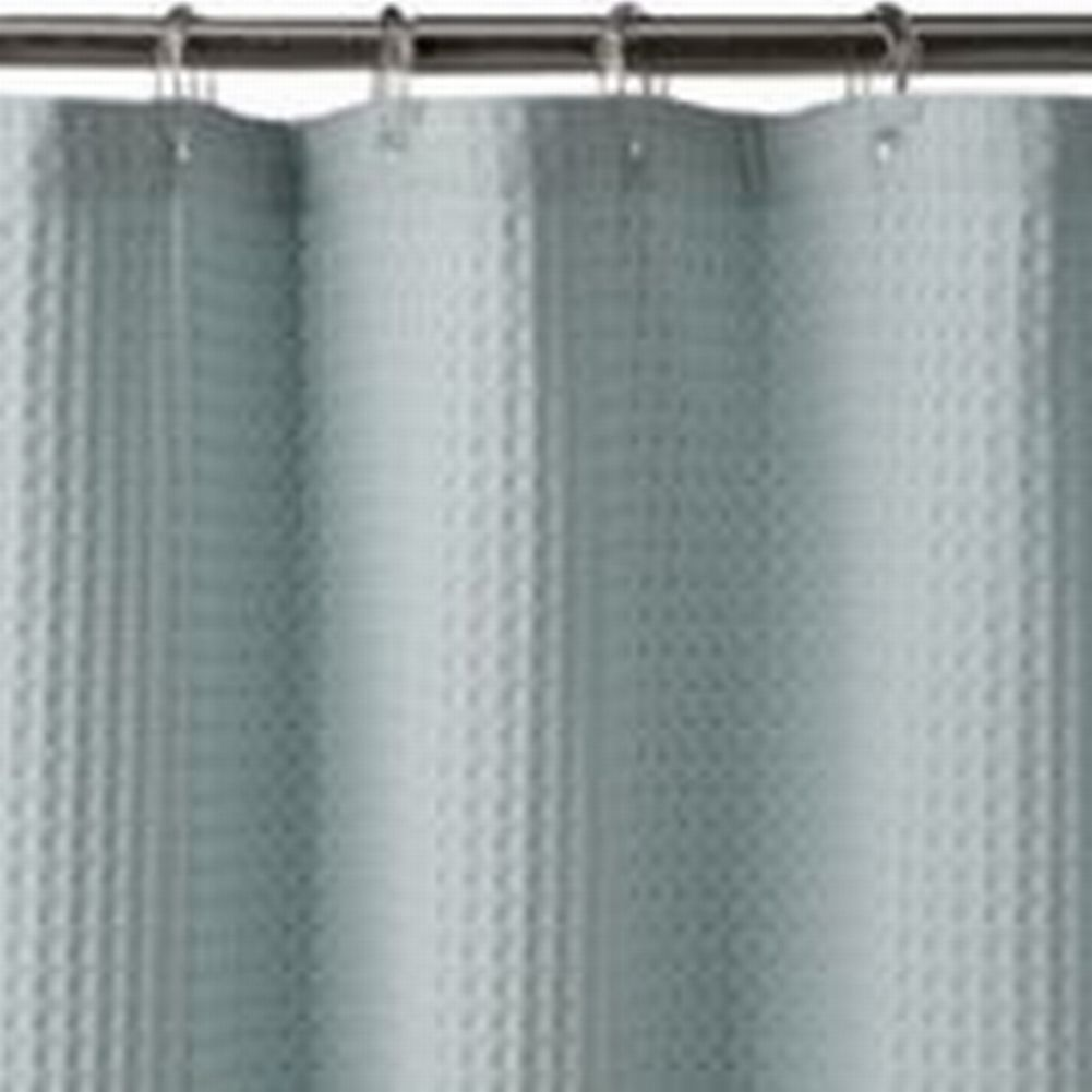 Sonoma Blue Waffle Weave Fabric Shower Curtain Cotton Bath