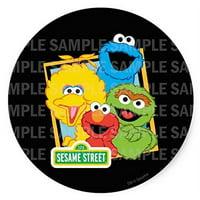 "Sesame Street Elmo Big Bird Cookie Monster Oscar Birthday Edible Image Photo 8"" Round Cake Topper Sheet Personalized Custom Customized Birthday Party"