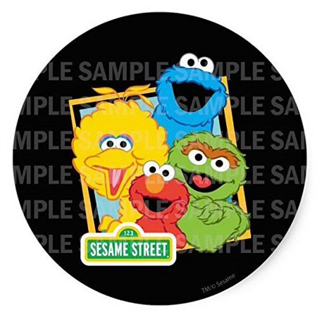 Sesame Street Elmo Big Bird Cookie Monster Oscar Birthday Edible Image Photo 8 Round Cake Topper Sheet Personalized Custom Customized Birthday Party