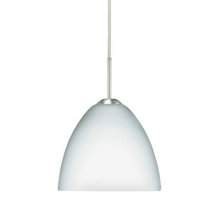 Besa Lighting 1BT-757207 Sasha II 1-Light Cord-Hung Mini Pendant with Opal Matte Glass Shade Contemporary Matte Opal Glass