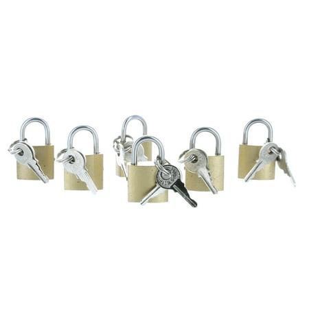 Mini Brass Padlocks Set of 6 With Key Lock All Purpose 1 1/4