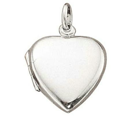 "Sterling Silver 16"" .8mm Box Chain Plain Flat Heart Locket Pendant Necklace"
