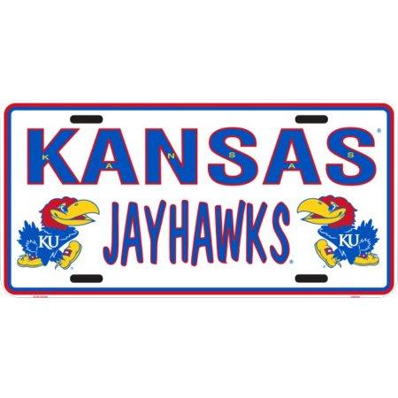 Kansas Jayhawks State outline embossed metal auto tag