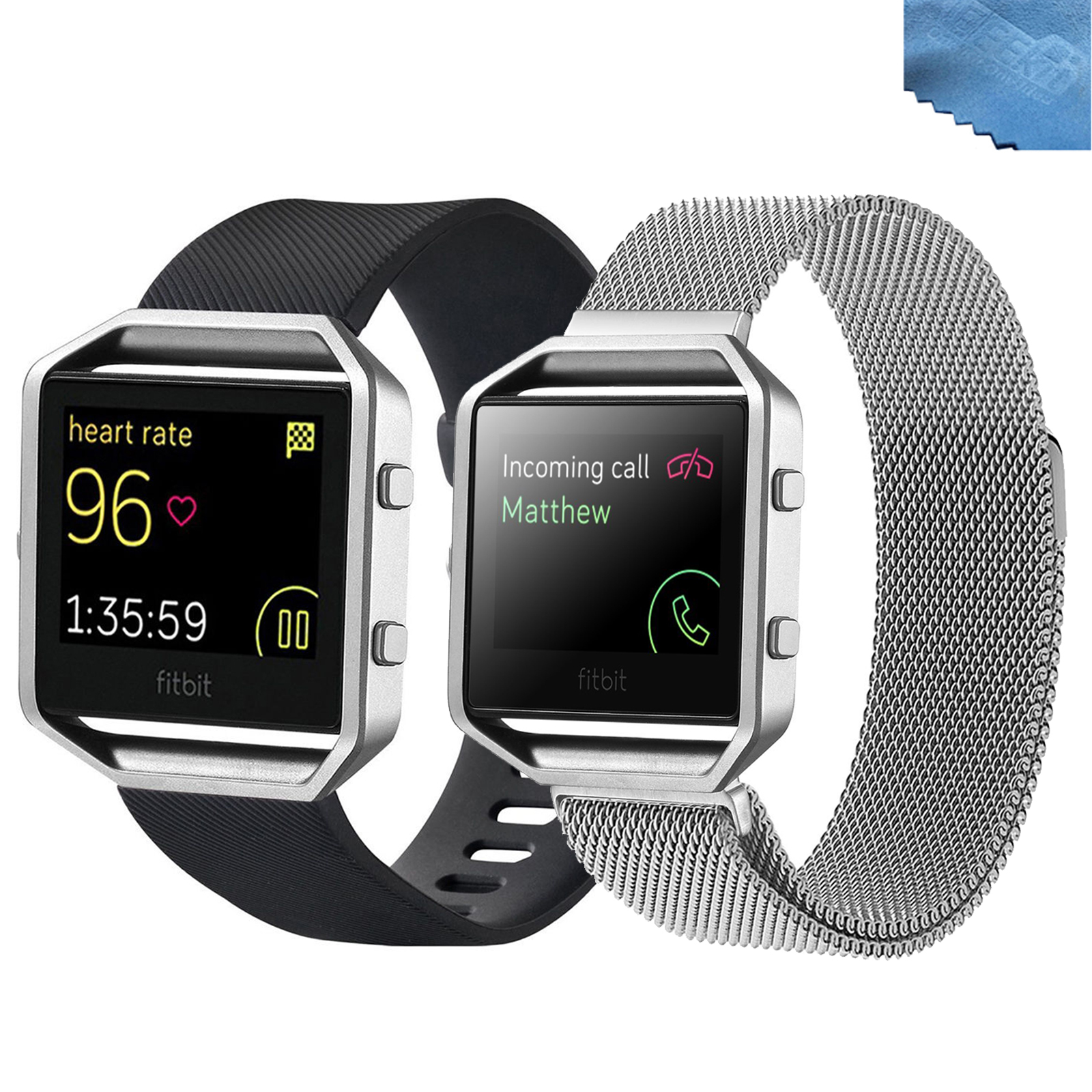 EEEKit 2in1 Kit for Fitbit Blaze, Milanese Loop Steel Mesh Bracelet Strap Band + Silicone Rubber Watch Band Strap