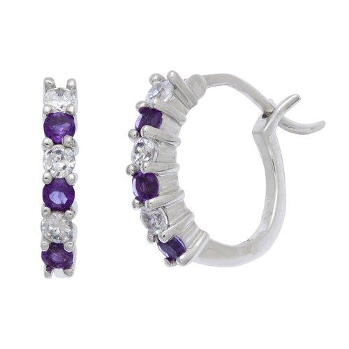 .60 Carat T.G.W. Amethyst and CZ Sterling Silver Hoop Earrings